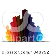 Clipart Of A Colorful City With Tall Skyscraper Buildings 4 Royalty Free Vector Illustration by ColorMagic