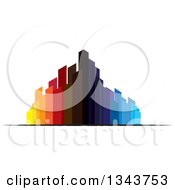 Clipart Of A Colorful City With Tall Skyscraper Buildings 5 Royalty Free Vector Illustration