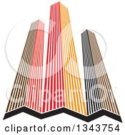 Clipart Of Red Orange And Black City Skyscraper Buildings 2 Royalty Free Vector Illustration by ColorMagic