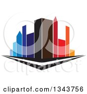 Clipart Of A City Street Corner With Colorful Tall Skyscraper Buildings Royalty Free Vector Illustration