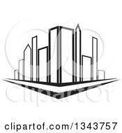 Clipart Of A City Street Corner With Black And White Skyscraper Buildings Royalty Free Vector Illustration