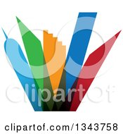 Clipart Of A Colorful City With Tall Skyscraper Buildings Royalty Free Vector Illustration