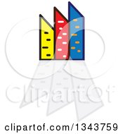 Clipart Of A Colorful City With Tall Skyscraper Buildings And Reflections 2 Royalty Free Vector Illustration