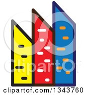 Clipart Of A Colorful City With Tall Skyscraper Buildings 2 Royalty Free Vector Illustration