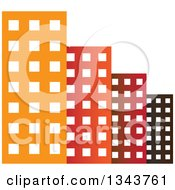 Clipart Of A Colorful City With Tall Skyscraper Buildings 6 Royalty Free Vector Illustration