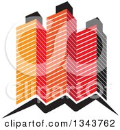 Clipart Of Red Orange And Black City Skyscraper Buildings Royalty Free Vector Illustration