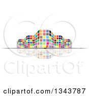 Clipart Of A Colorful City Building And Reflection Royalty Free Vector Illustration