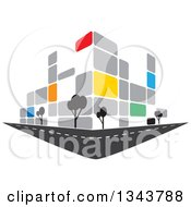 Clipart Of A Colorful Street Corner City Building With Trees Royalty Free Vector Illustration by ColorMagic