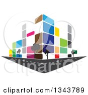 Clipart Of A Colorful Street Corner City Building With Trees 2 Royalty Free Vector Illustration by ColorMagic