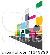 Clipart Of A Colorful Street Along A City Building With Trees Royalty Free Vector Illustration by ColorMagic