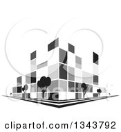 Clipart Of A Grayscale City Building On A Corner With Trees Royalty Free Vector Illustration