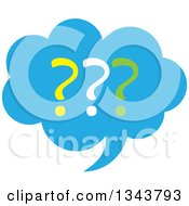Clipart Of A Blue Question Mark Speech Balloon Chat App Icon Design Element Royalty Free Vector Illustration