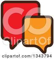 Clipart Of A Red And Orange Speech Balloon Chat App Icon Design Element 2 Royalty Free Vector Illustration