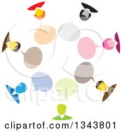 Colorful Group Of Business People In A Circle With Speech Balloons