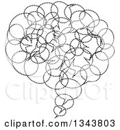 Clipart Of A Black And White Speech Balloon Chat App Icon Design Element Made Of Dotted Bubbles Royalty Free Vector Illustration