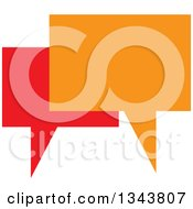 Clipart Of A Red And Orange Speech Balloon Chat App Icon Design Element 3 Royalty Free Vector Illustration