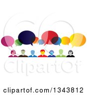 Clipart Of A Colorful Group Of Business People With Speech Balloons 2 Royalty Free Vector Illustration by ColorMagic