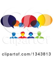 Clipart Of A Colorful Group Of Business People With Speech Balloons Royalty Free Vector Illustration
