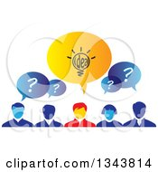 Clipart Of A Group Of Brainstorming Business People With Speech Balloons Royalty Free Vector Illustration by ColorMagic