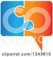 Clipart Of A Blue And Orange Jigsaw Puzzle Speech Balloon Chat App Icon Design Element Royalty Free Vector Illustration