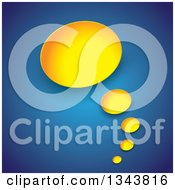 Clipart Of A Yellow Thought Balloon Over Blue Royalty Free Vector Illustration