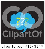 Clipart Of A Blue Question Mark Speech Balloon Chat App Icon Design Element On Black Royalty Free Vector Illustration