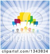 Clipart Of A Colorful Group Of People With Speech Balloons Over Blue Rays Royalty Free Vector Illustration by ColorMagic