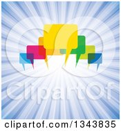 Clipart Of Colorful Speech Balloons Over Blue Rays Royalty Free Vector Illustration