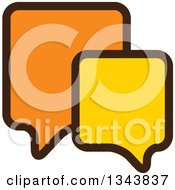 Clipart Of A Yellow And Orange Speech Balloon Chat App Icon Design Element 2 Royalty Free Vector Illustration