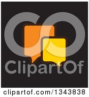 Clipart Of A Yellow And Orange Speech Balloon Chat App Icon Design Element On Black 2 Royalty Free Vector Illustration