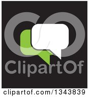 Clipart Of A White And Green Speech Balloon Chat App Icon Design Element On Black Royalty Free Vector Illustration