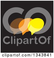 Clipart Of A Brown Orange And Yellow Speech Balloon Chat App Icon Design Element On Black Royalty Free Vector Illustration