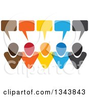 Clipart Of A Colorful Group Of People With Speech Balloons 9 Royalty Free Vector Illustration