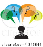 Clipart Of A Silhouetted Man With Colorful Question Speech Balloons Royalty Free Vector Illustration