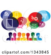 Clipart Of A Colorful Group Of People With Icon Speech Balloons 2 Royalty Free Vector Illustration by ColorMagic