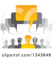 Clipart Of A Group Of Gray And Orange People With Speech Balloons Royalty Free Vector Illustration