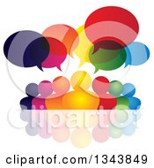 Clipart Of A Colorful Group Of People With Speech Balloons And Reflections 2 Royalty Free Vector Illustration by ColorMagic
