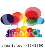 Clipart Of A Colorful Group Of People With Speech Balloons 4 Royalty Free Vector Illustration by ColorMagic