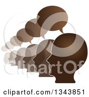 Clipart Of A Row Of Brown Male Heads In Profile With Speech Balloons Royalty Free Vector Illustration
