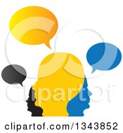 Clipart Of A Colorful Group Of People With Speech Balloons 6 Royalty Free Vector Illustration