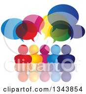 Clipart Of A Colorful Group Of People With Speech Balloons And Reflections Royalty Free Vector Illustration