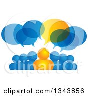 Clipart Of A Group Of Blue And Orange People With Speech Balloons Royalty Free Vector Illustration