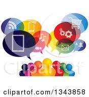 Clipart Of A Colorful Group Of People With Icon Speech Balloons Royalty Free Vector Illustration by ColorMagic