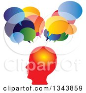 Clipart Of A Gradient Red Profiled Mans Head With Speech Balloons Royalty Free Vector Illustration
