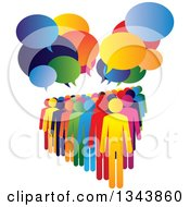 Clipart Of A Colorful Group Of People With Speech Balloons 3 Royalty Free Vector Illustration