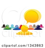 Clipart Of A Colorful Group Of People With A Speech Balloon Royalty Free Vector Illustration