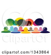 Clipart Of A Colorful Group Of People With Speech Balloons Royalty Free Vector Illustration
