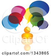 Clipart Of An Orange Man With Colorful Speech Balloons And A Reflection Royalty Free Vector Illustration