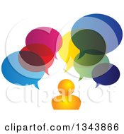 Clipart Of An Orange Man With Colorful Speech Balloons Royalty Free Vector Illustration