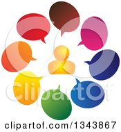 Clipart Of An Orange Man In A Circle Of Colorful Speech Balloons Royalty Free Vector Illustration